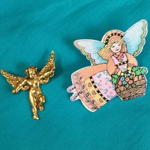 Vintage 1980's Angel Brooch Pins